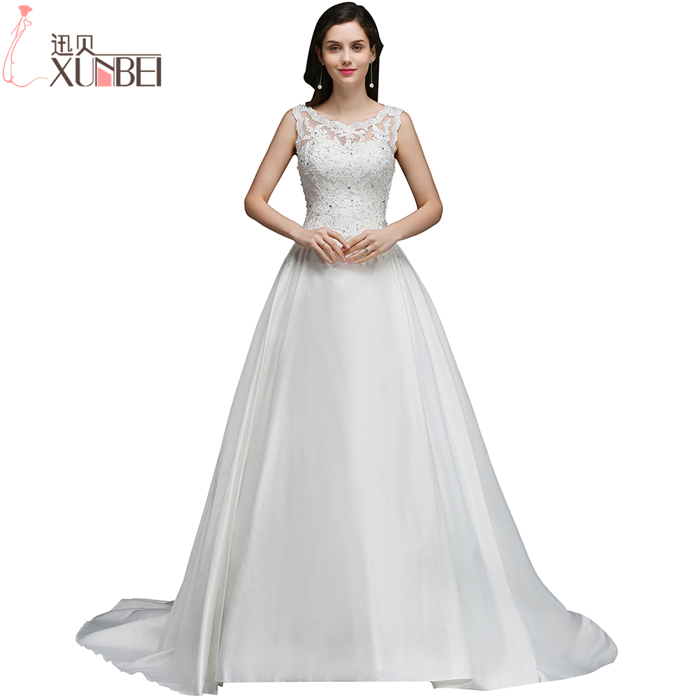 Beautiful Lace Appliques Ball Gown Wedding Dresses 2018 O-Neck Sheer Back Zipper UP Bride Dresses robe de mariage