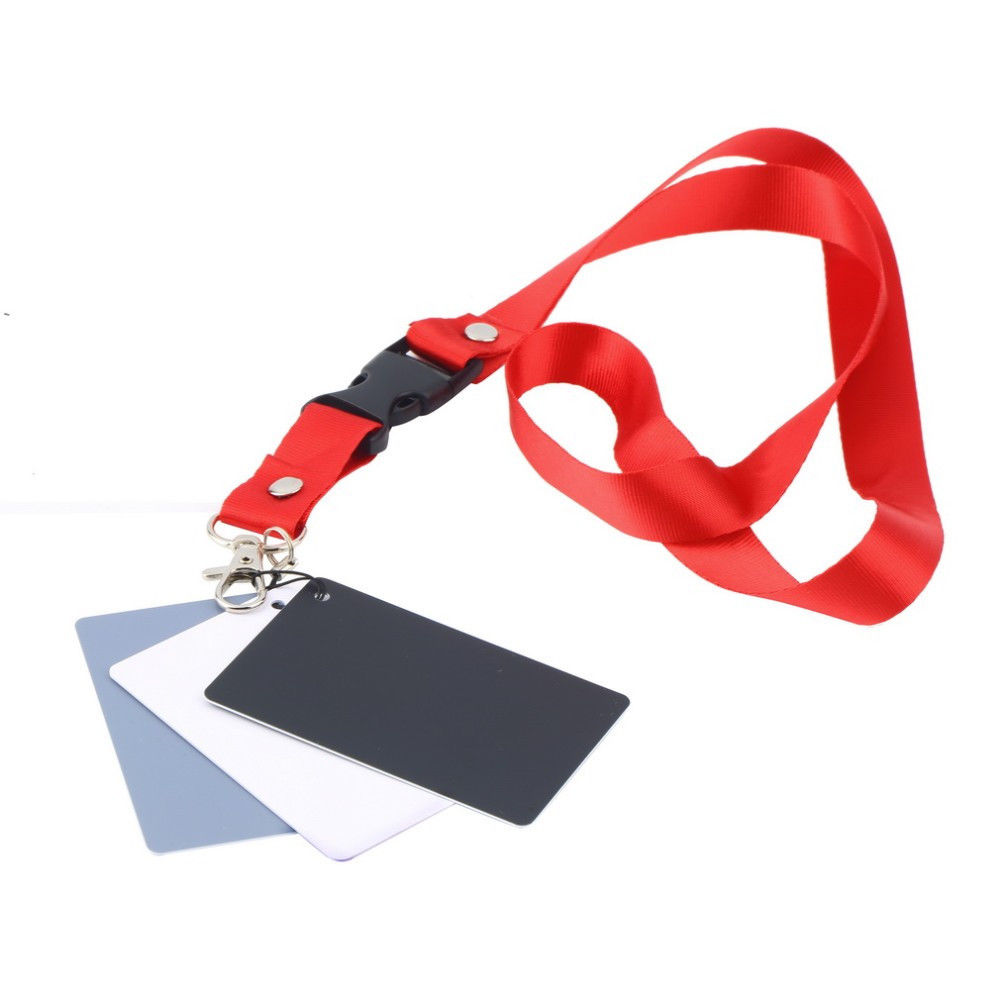 3 in 1 White Black Gray Balance Digital Card kit Pocket-Size 18% Gray Card with Neck Strap for Digital Photography2