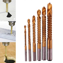 6pcs/set Titanium Coated Drill Bit Set High-Speed Steel Hole Cutter Woodworking Tool 3-8mm