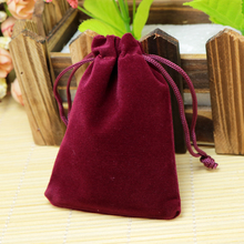 Wholesale 7x9cm Drawstring Purplish Red Velvet Bags Pouches Jewelry Christmas Valentines Gift Bags 50pcs/lot Free Shipping