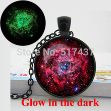Glowing necklace pendant Nebula Galaxy necklace Red  Space pendant Art photo  glow in the dark jewelry necklace