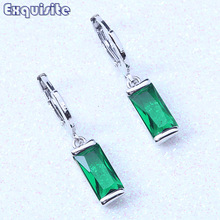 Classic Drop Dangle Earrings Green/Blue/Red Cubic Zirconia Silver Color Crystal Jewelry For Women Valentine's Day Gift L0016