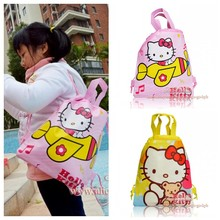 1PCS Hello Kitty Children Cartoon Drawstring Backpacks School Shopping Bags 34*27CM Non Woven Fabrics Kids Birthday Party Gift