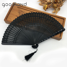 Wholesale Free Shipping 100pcs Black Full Bamboo Round Geomitric Pattern Chinese Manual Fans Wedding Favors and Gifts(China)
