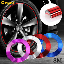 Auto DIY 8M Wheel Hub Tire Car Interior Decorative Strip Car-Styling Motorcycle Wheel Rim Protection Car Covers Car Accessories