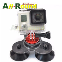 Removable Low Angle Secure Tripod Tri-Angle 3 Vacuum Car Vehicle Suction Cup Mount Base with CNC Screw for GoPro Hero 4 3+ 3 2 1