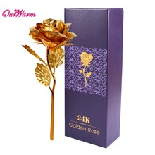 Dipped Rose gold foil plated Plastic 24K Artificial Flower Lover Gift 25*8cm for Valentine Day