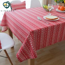Sinogem European Style Dining Table Cover Cute Cartoon Print Christmas Tablecloth 100% Cotton Home Decor Rectangle Table Cloth(China)
