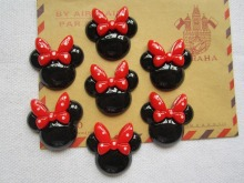 Rena!! Min.order $6 (mix order), Resin Cute Red Bow Minnie for Hair Bow Center Phone Deco DIY (27*26mm), Free Shipping