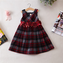 Korean Clothing Store Flower Girl Dresses Fashion Design High Quality Top Grid Corduroy Material Kid Children Party Wear 5ps/set(China)