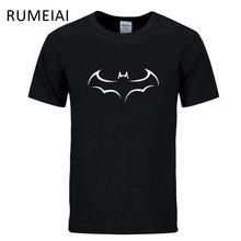 RUMEIAI 2017 New 100% COTTON men t shirt casual short sleeve t-shirt for men batman print men T shirt crewneck mens tee shirt(China)