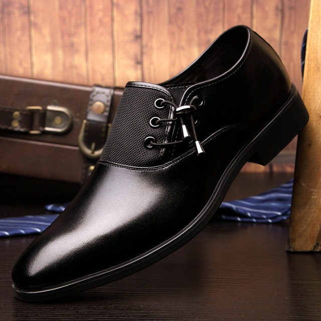 2017 New Fashion Genuine Leather Men Business Casual Shoes Luxury Brand Dress