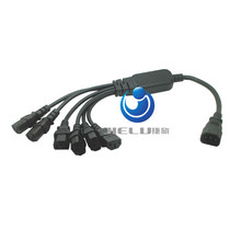 1 pcs ,IEC 320 C14 Male Plug to 6XC13 Female Y Type Splitter Power Cord , C14 to 6 x C13,10A,250V