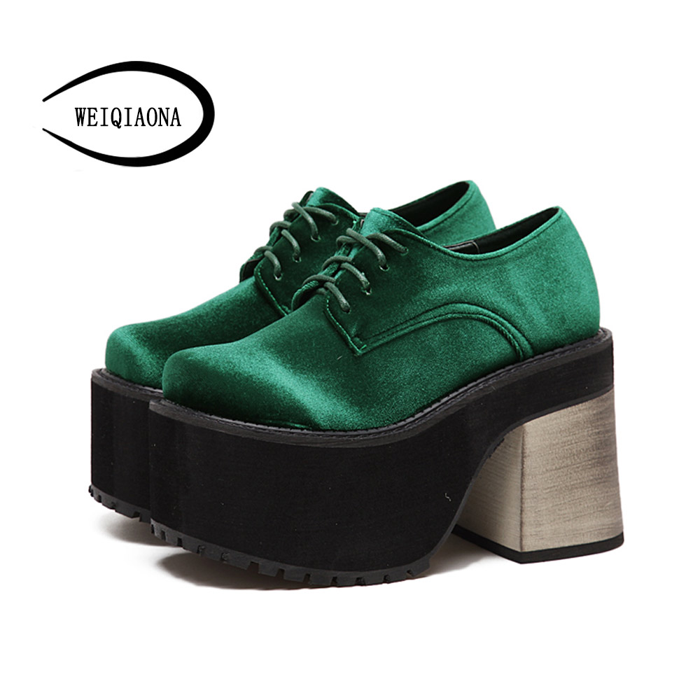 WEIQIAONA Womens Round toe shoes new Velvet loose shoes elegant sexy lace-up high heels high waterproof single shoes<br>