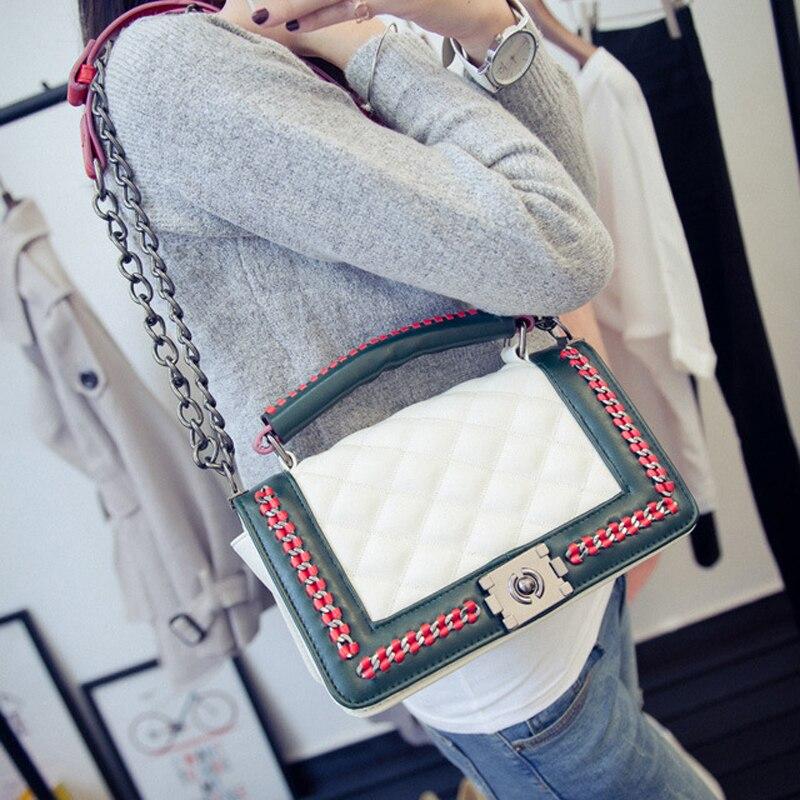 black women shoulder bags female party crossbody chain bag plaid handbag quilted sac a main femme women leather handbags 786<br>