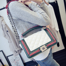 black women shoulder bags female party crossbody chain bag plaid handbag quilted sac a main femme women leather handbags 786(China)
