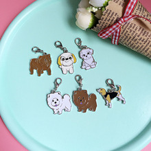 5PCS/LOT DIY Cartoon Purse Charms Pet Chow Chow Sharpei Foxhound pug Shepherd Dogs Keychain Dog Charms for Bags jewelry Women
