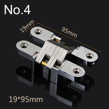High Quality 10PCS 19x95MM Invisible Concealed Cross Door Hinge Stainless Steel Hidden Hinges Bearing 25KG For Folding Door K98