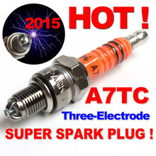 Buy Three-electrode Performance A7TC A7TJC Motorcycle Spark Plug 50cc 70cc 110cc 125cc 150cc ATV Dirtbike Moped Scooter for $4.20 in AliExpress store