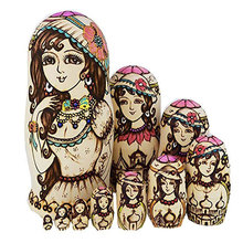10 Pcs/ Set Russian Matryoshka Doll Beautiful Girls Lady Nesting Dolls Wooden Hand Painted Craft for Kid Gift Home Decor YH-17