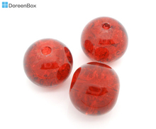 Doreen Box hot-  50 PCs Red Crackle Glass Round Beads 10mm Findings (B04181)
