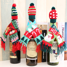NEW Woolen Christmas Elk Santa Scarf Hat Sets Red Wine Bottle Decoration Christmas Day Party Wedding Dinner Party Table Decor(China)