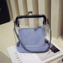 Summer Women Transparent Handbag Sweet Jelly Beach Bag Candy Colors Shoulder Bags Crossbody Clear Chain bag