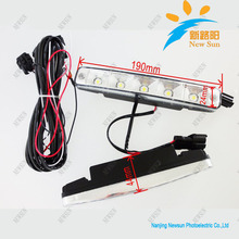 Super bright universal 5 LED automotive LED daytime running lights drl strip daylight led car Head Lamp fog light free shipping