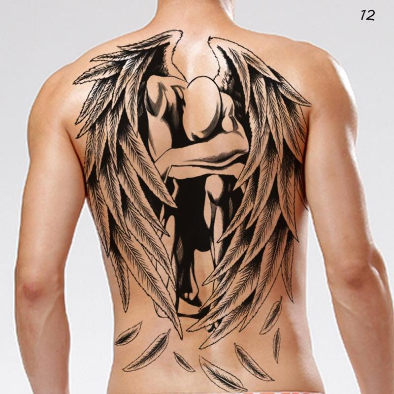 48*35cm Big size buddha ghost totem tattoo stickers men women waterproof full back body temporary tattoos RP2 13