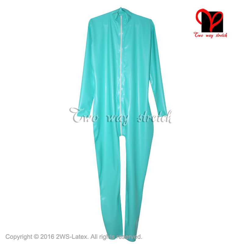 Sexy Black Wide Latex Catsuit Rubber Body Suit stockings Zentai Gummi Unitard long sleeves overall plus size high collar XXXL 4