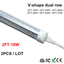 Integrated LED Tube 2FT 4FT 5FT 6FT 8FT LED T8 18W LED Tube Light V Shape Fluorescent Tubes Lights SMD 2835 100LM/W AC85-265V