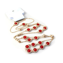 2016 Europe United States foreign trade act the role ofing is tasted Circular alloy inlaid red/black sweater chain long necklace
