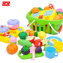 Children Vegetable and Fruit Cutting Toy Set Early Education Plastic Basket Pretend Play Kitchen Cooking Food Toys for Kids D51(China)