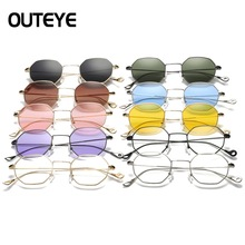 OUTEYE 2017 Hexagon Sunglasses Women Luxury Design Metal Eyewear Female Retro Vintage Mens Clear Sun Glass Shades Lunette F3