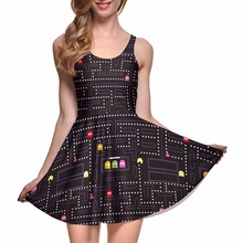 NEW 1099 Sexy Girl Women Summer FC PAC-MAN classical Game 3D Digital Prints Reversible Sleeveless Skater Pleated Dress Plus size