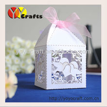 Wedding decoration!Various colors kinds of laser cut candy box Laser cut wedding favours Love dove wedding favours(China)