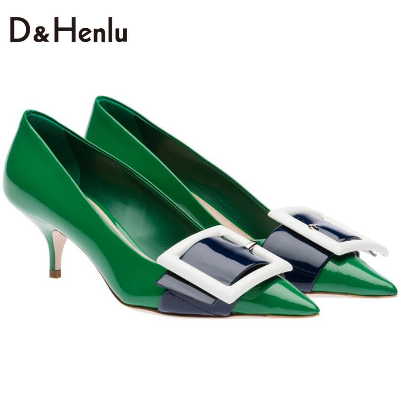 {D&amp;H}Shoes Woman 2017 Spring NEW LOOK Vegetation Green High Heels Women Big Buckle Medium Heel Pumps Female Single shoes Gift<br><br>Aliexpress