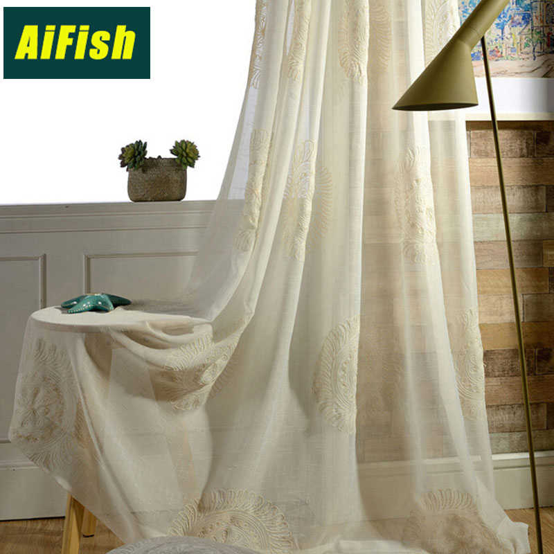 Embroidered Floral Faux Linen Sheer Voile Curtains for Living Room balcony Window Treatment Curtain Tulle for Bedroom wp045#30