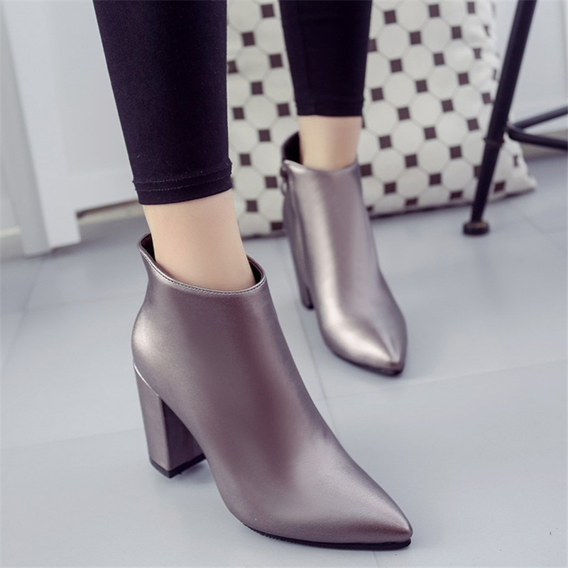 2017 winter fashion pointed toe thick heel boots red plus velvet high-heeled boots womens shoes ankle-length boots work shoes <br><br>Aliexpress