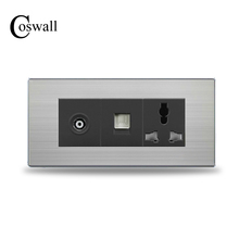 COSWALL 3 Hole Universal Wall Power Socket With RJ45 Internet Outlet and TV Jack Stainless Steel Brushed Silver Panel 154mm*72mm