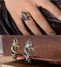 Sale 2017 New Arrival Charms Punk Fashion Exaggerated Rings for Men and Women Vintage Retro Dragon Ring Jewelry Free Shipping
