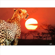 Diamond painting Square crystal fashion apparel design crafts Diamond Cross Stitch Embroidery Flores  Sunset leopard 45*30cm