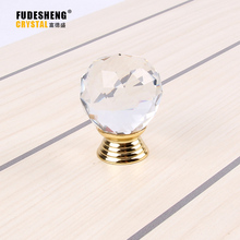 10 pcs/lot 30mm transparent crystal (ball shape)gold base single door knob/handle/pull cabinet drawer accessory SJ-3001(China)