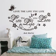 &% bob Marley Room Wall Sticker love the life you live DIY Poster TV Background Wall butterfly and Vine Home Decor living room(China)