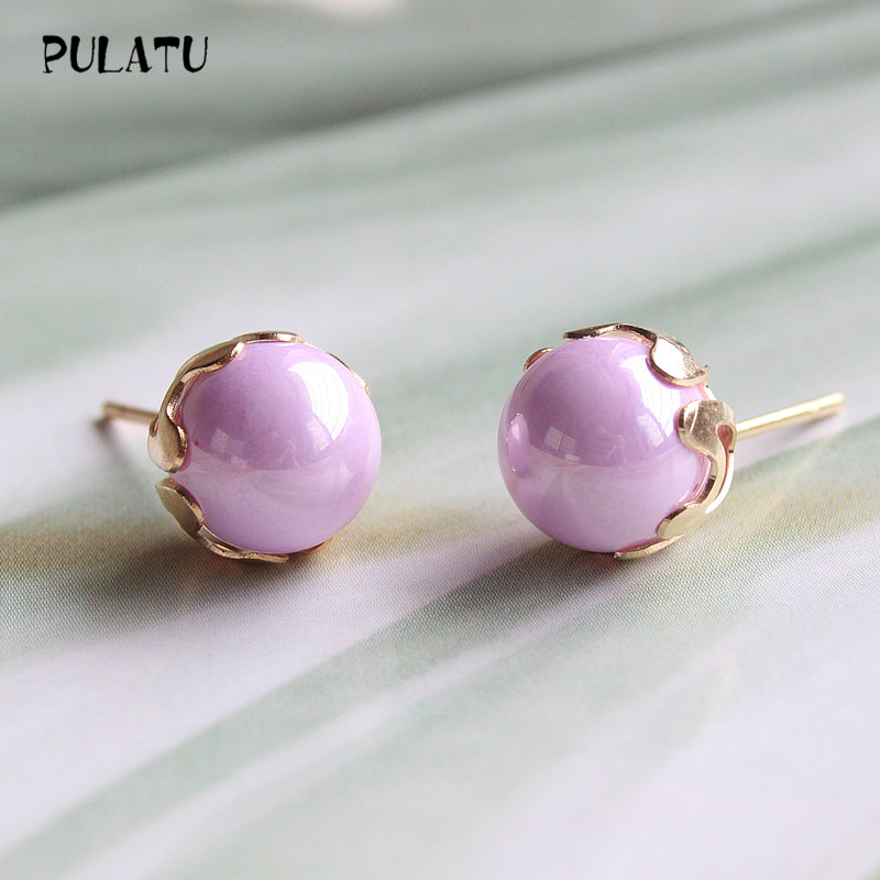 9 Color Fashion Pearl Earrings for Women Minimalist 8mm Bead Rose Gold color Alloy Small Stud Earrings Jewelry PULATU ZZ0302(China (Mainland))