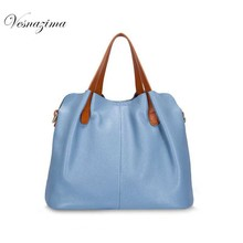 VESNAZIMA genuine leather ladie's tote handbag woman messenger bag for girl women's shoulder bags blue bag for women VZ128ZN