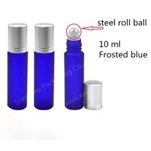 Free shipping 10ml essential oil glass bottle, 1/3 oz blue frosted glass roll on bottle, 10cc cobalt blue perfume roller vial