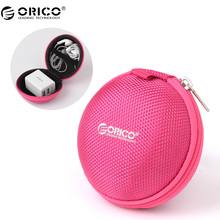 ORICO Portable Case for Headphones Case Mini Zippered Round Storage Hard Bag Headset Box for Earphone Case SD TF Cards Earphone(China)
