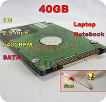 "2.5"" HDD SATA 40GB 40g sata 5400RPM 8M Internal Hard Disk Drive for laptop notebook Free Shipping screw driver free"