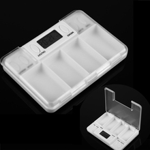 New Square Intelligent Timing Daily Reminder Alarm 4 Day Pill Case Box Medicine Tablet Storage Container Cases with LED lights